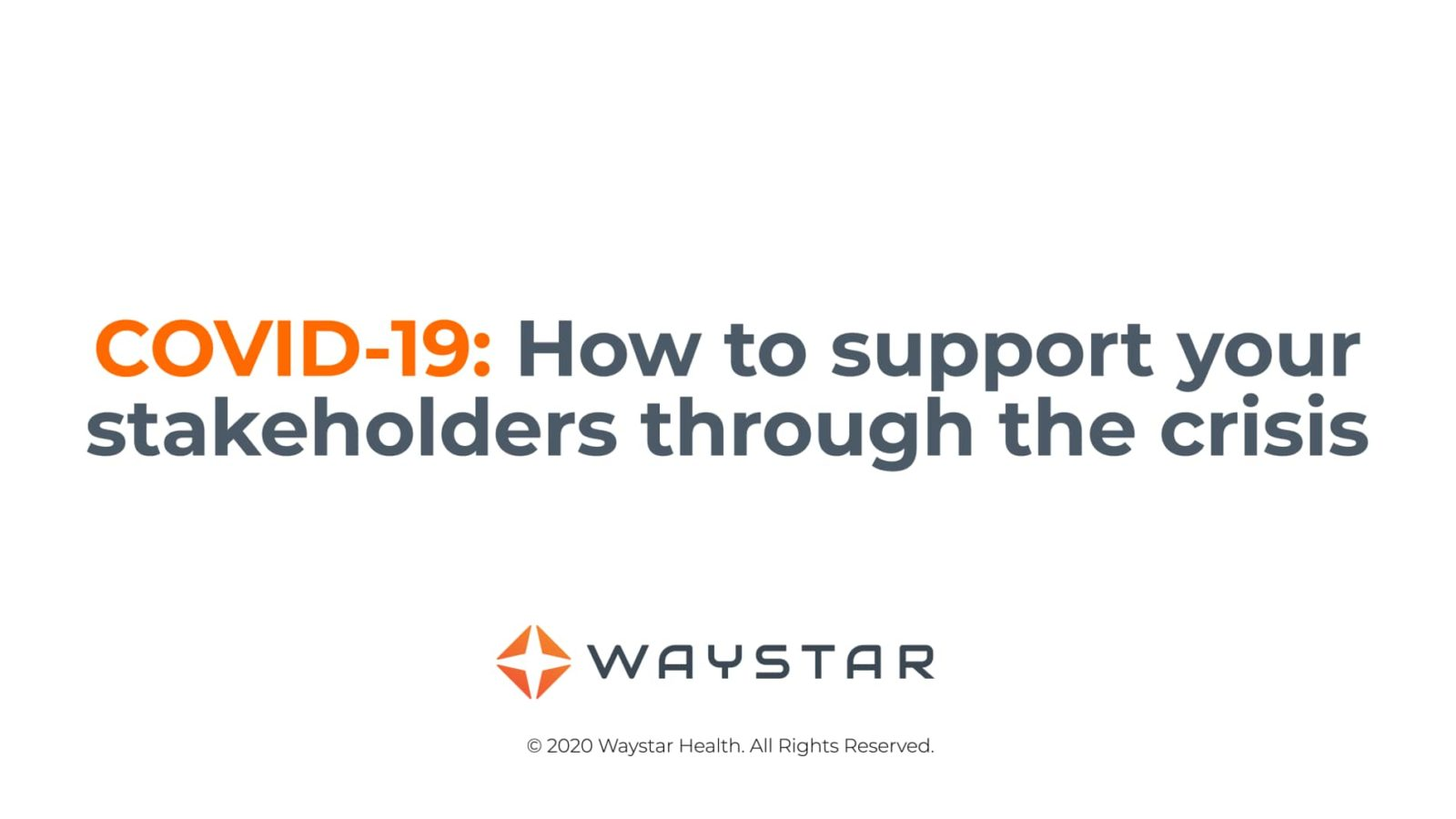 Webinar: COVID-19 How to support your stakeholders through the crisis